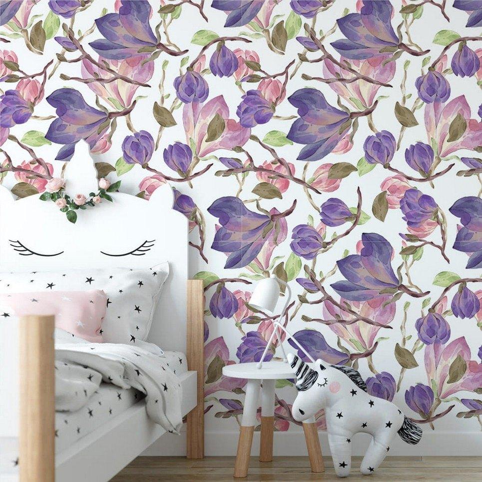 Violet Magnolies Children's Wallpaper