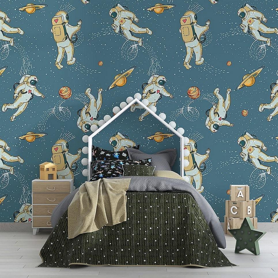 Astronauts and Cosmos Children's Wallpaper