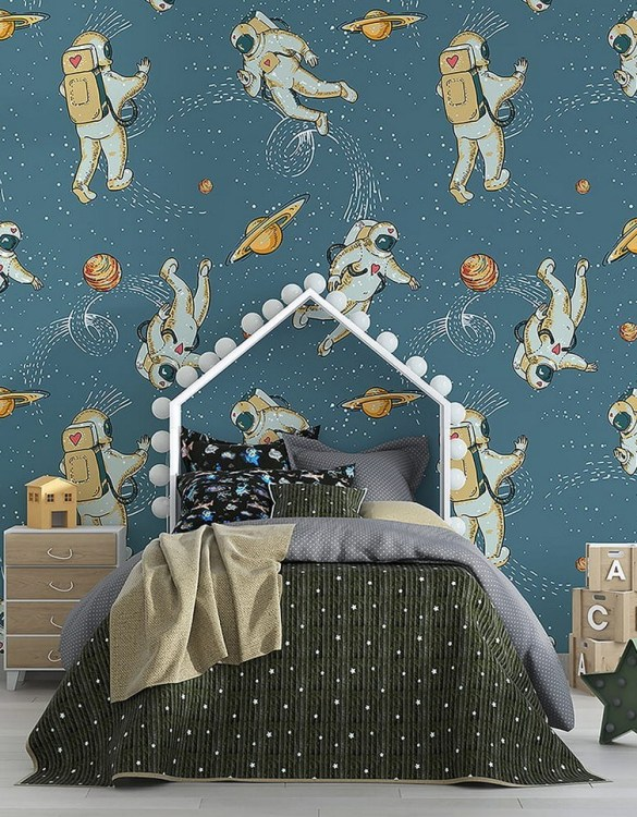Sure to be adored by little ones, the Astronauts and Cosmos Children's Wallpaper is a fun addition to any nursery or playroom. Go on an adventure with our kid's wallpaper for children's rooms! A well-chosen pattern can visually enlarge the interior.