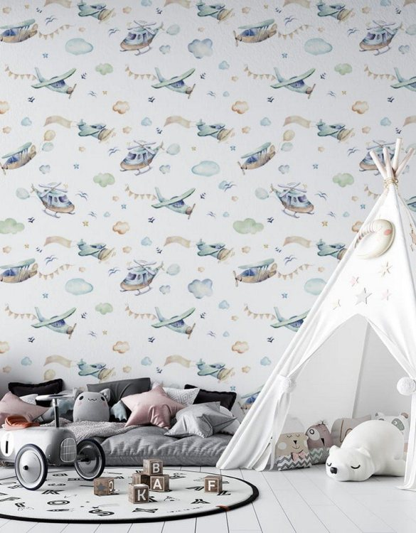 Sure to be adored by little ones, the Boys World Children's Wallpaper is a fun addition to any nursery or playroom. Go on an adventure with our kid's wallpaper for children's rooms! A well-chosen pattern can visually enlarge the interior.