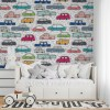 Sure to be adored by little ones, the Color Cars Children's Wallpaper is a fun addition to any nursery or playroom. Go on an adventure with our kid's wallpaper for children's rooms! A well-chosen pattern can visually enlarge the interior.