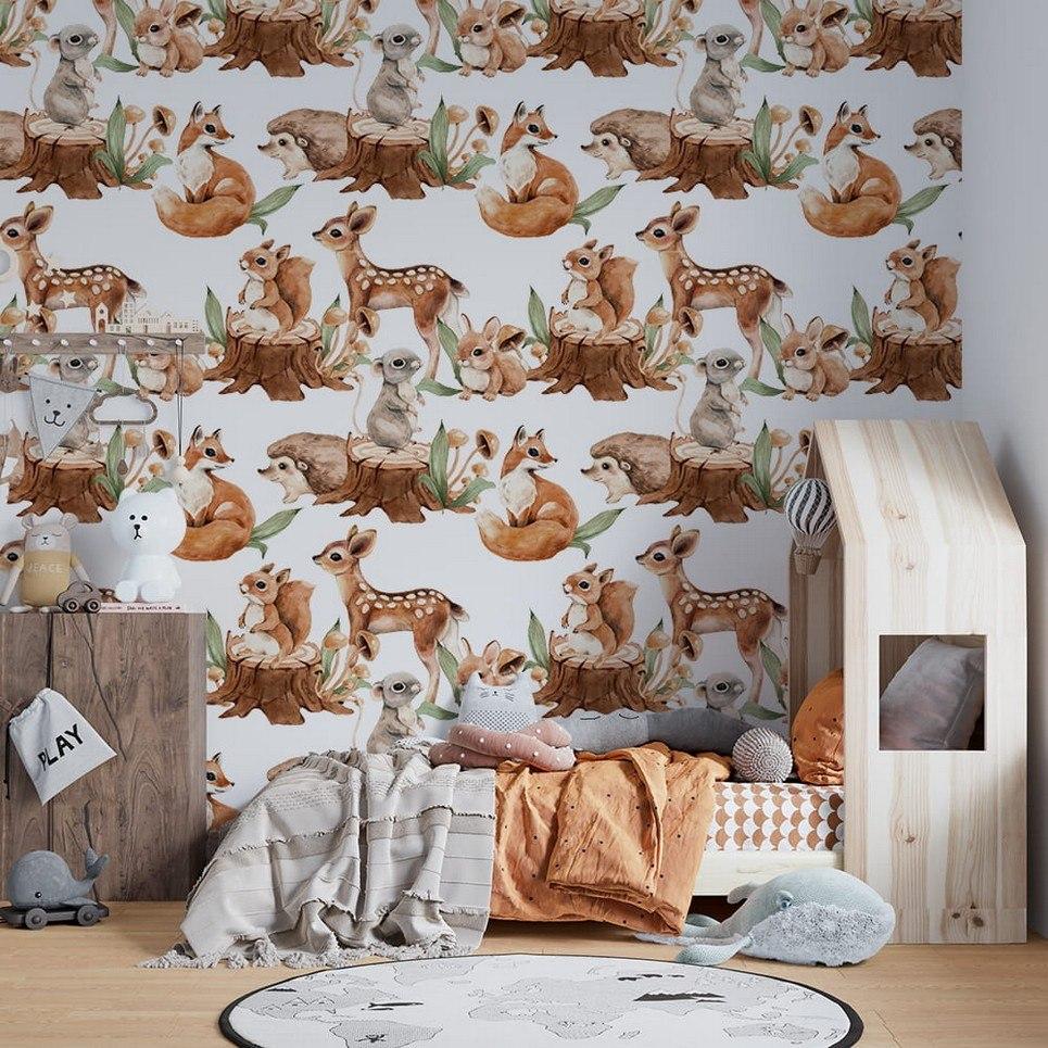 Cute Forest Meetings Children's Wallpaper