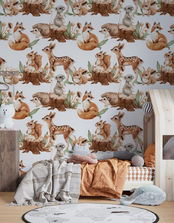 Sure to be adored by little ones, the Cute Forest Meetings Children's Wallpaper is a fun addition to any nursery or playroom. Go on an adventure with our kid's wallpaper for children's rooms! A well-chosen pattern can visually enlarge the interior.
