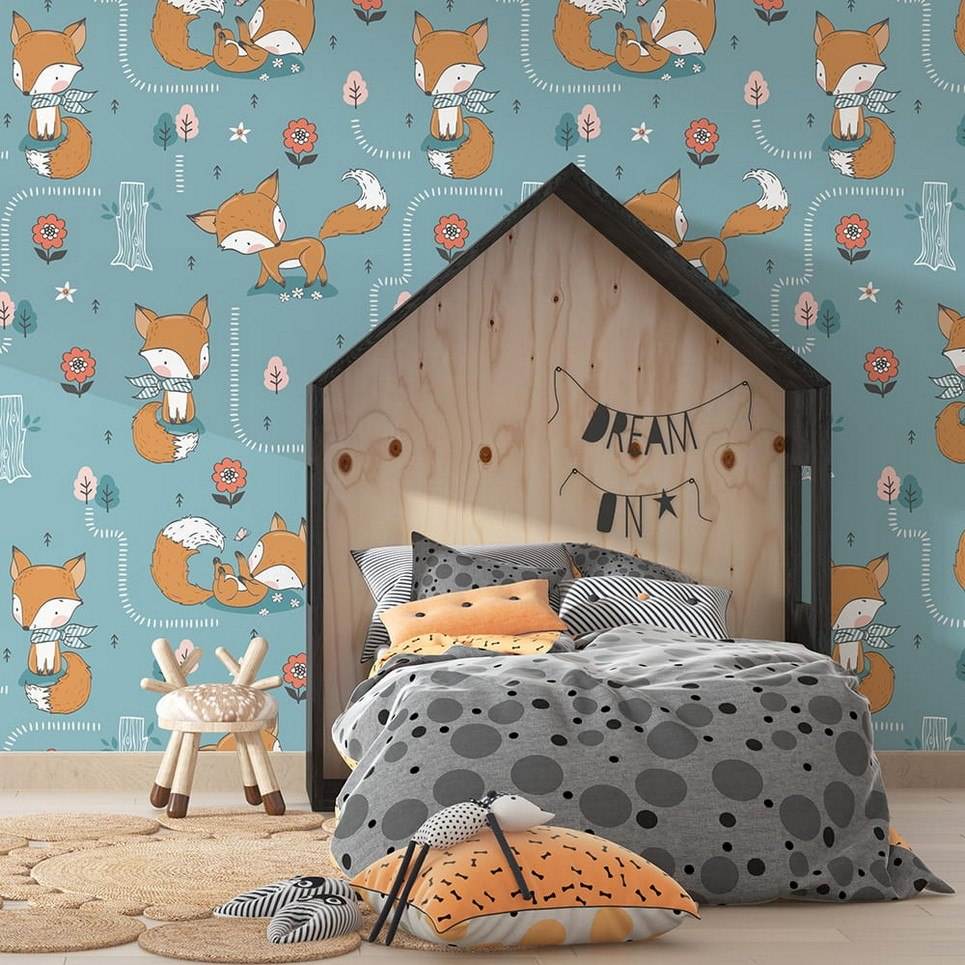 Cute Foxes Children's Wallpaper