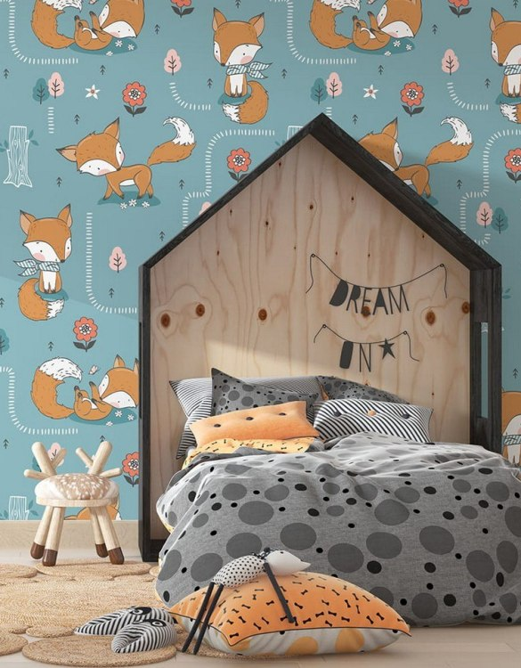 Sure to be adored by little ones, the Cute Foxes Children's Wallpaper is a fun addition to any nursery or playroom. Go on an adventure with our kid's wallpaper for children's rooms! A well-chosen pattern can visually enlarge the interior.