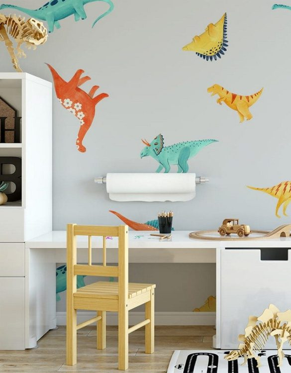 Sure to be adored by little ones, the Dinosaurs 10 Children's Wallpaper is a fun addition to any nursery or playroom. Go on an adventure with our kid's wallpaper for children's rooms! A well-chosen pattern can visually enlarge the interior.