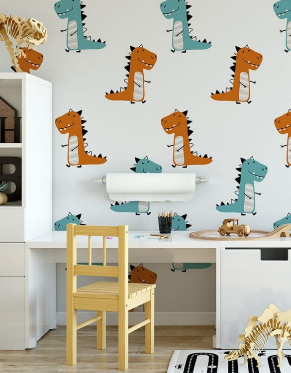 Sure to be adored by little ones, the Dinosaurs 11 Children's Wallpaper is a fun addition to any nursery or playroom. Go on an adventure with our kid's wallpaper for children's rooms! A well-chosen pattern can visually enlarge the interior.
