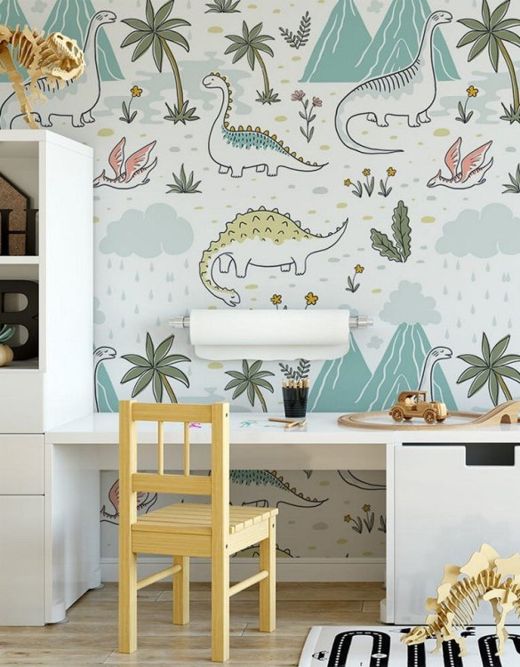 Sure to be adored by little ones, the Dinosaurs 14 Children's Wallpaper is a fun addition to any nursery or playroom. Go on an adventure with our kid's wallpaper for children's rooms! A well-chosen pattern can visually enlarge the interior.