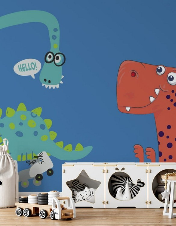 Sure to be adored by little ones, the Dinosaurs 3 Children's Wallpaper is a fun addition to any nursery or playroom. Go on an adventure with our kid's wallpaper for children's rooms! A well-chosen pattern can visually enlarge the interior.