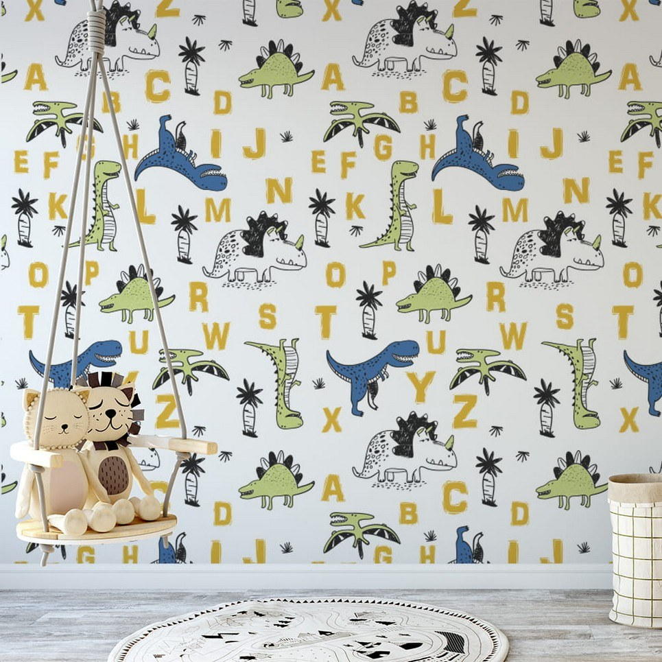 Dinosaurs Alphabet Children's Wallpaper