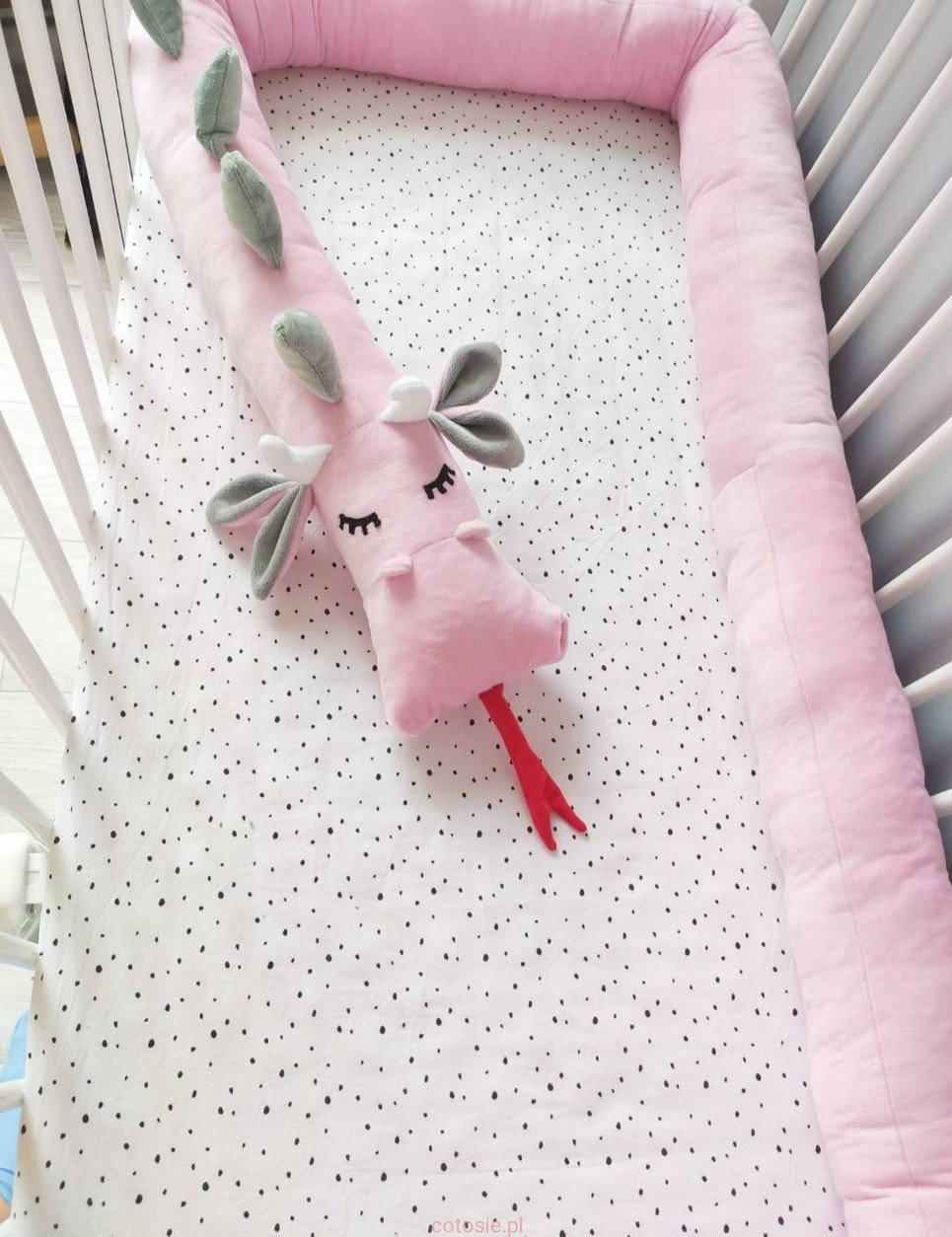 Dragon Smooth Pink Gray Minky Cot Bumper