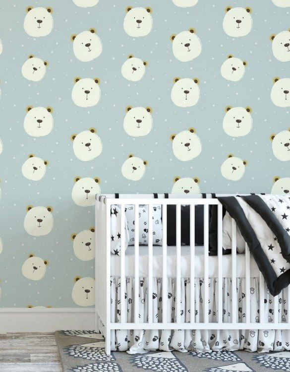 Sure to be adored by little ones, the Friendly Bear Children's Wallpaper is a fun addition to any nursery or playroom. Go on an adventure with our kid's wallpaper for children's rooms! A well-chosen pattern can visually enlarge the interior.