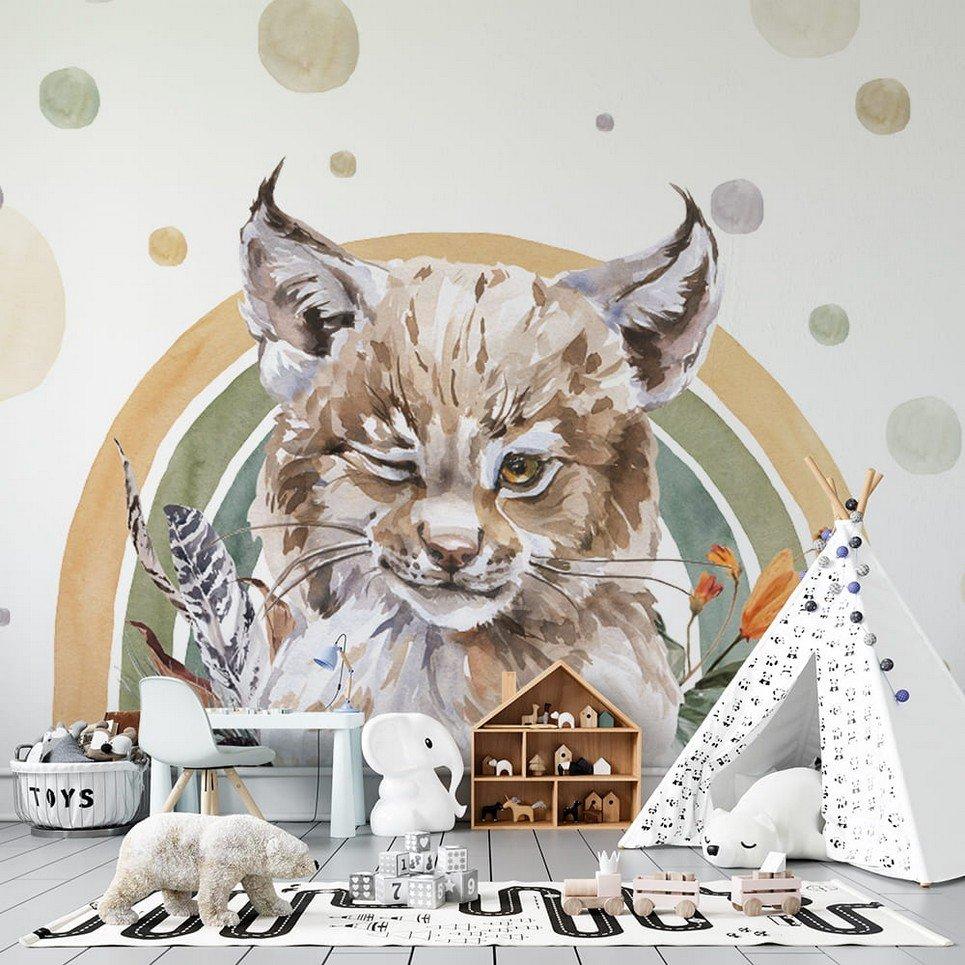 Lynx – Rainbow Forest Children's Wallpaper