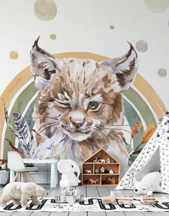 Sure to be adored by little ones, the Lynx - Rainbow Forest Children's Wallpaper is a fun addition to any nursery or playroom. Go on an adventure with our kid's wallpaper for children's rooms! A well-chosen pattern can visually enlarge the interior.