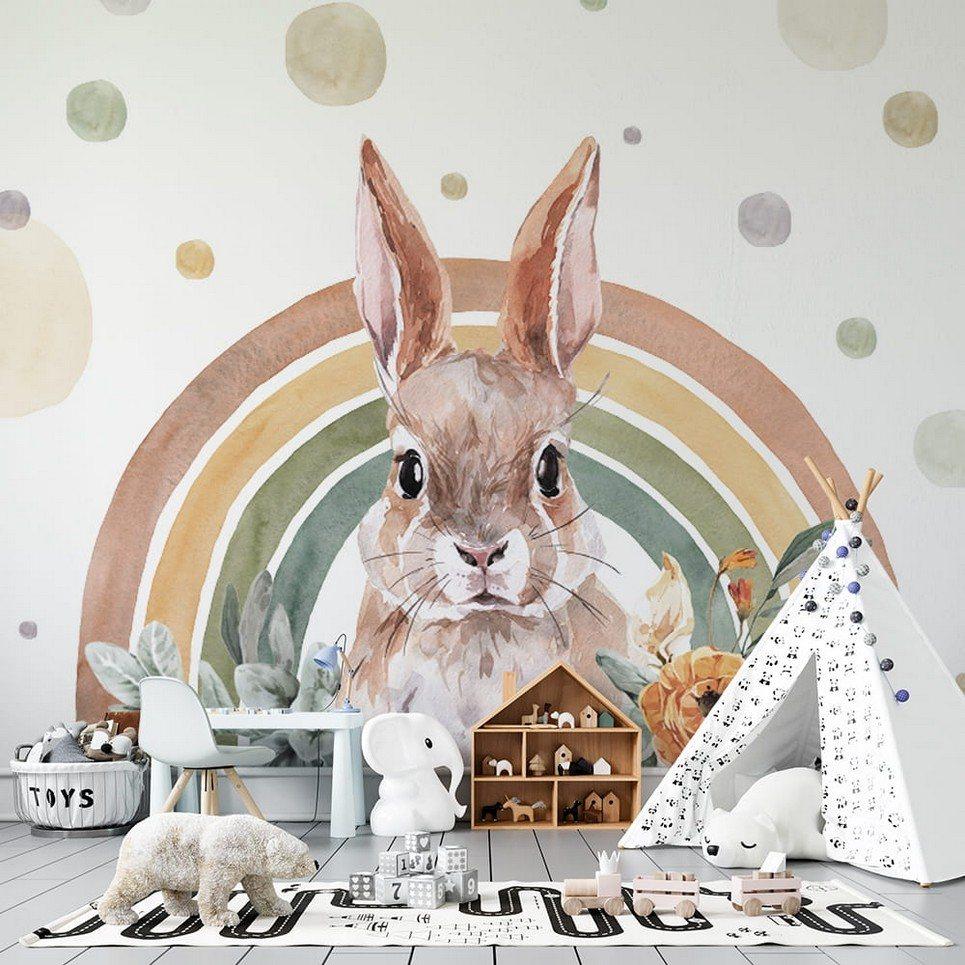 Rabbit – Rainbow Forest Children's Wallpaper
