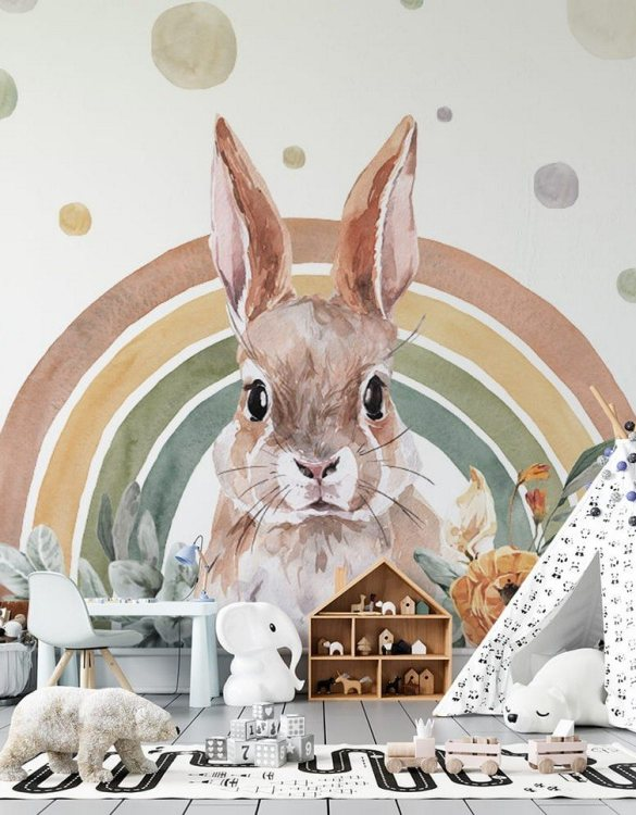 Sure to be adored by little ones, the Rabbit - Rainbow Forest Children's Wallpaper is a fun addition to any nursery or playroom. Go on an adventure with our kid's wallpaper for children's rooms! A well-chosen pattern can visually enlarge the interior.