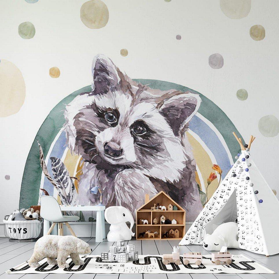 Raccoon – Rainbow Forest Children's Wallpaper