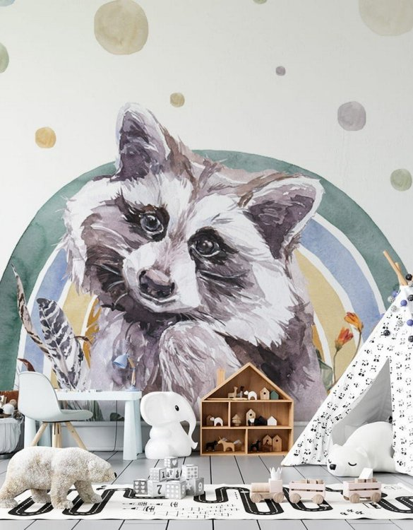 Sure to be adored by little ones, the Raccoon - Rainbow Forest Children's Wallpaper is a fun addition to any nursery or playroom. Go on an adventure with our kid's wallpaper for children's rooms! A well-chosen pattern can visually enlarge the interior.