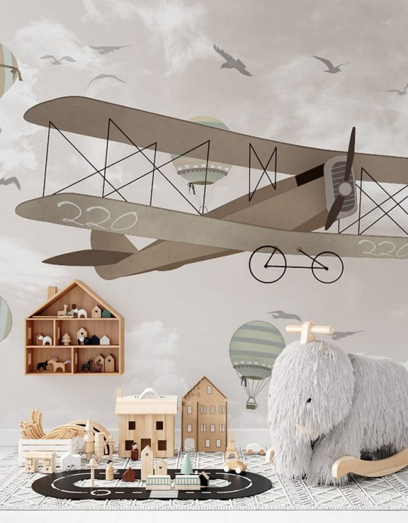 Sure to be adored by little ones, the Retro Airplanes and Balloons 2 Children's Wallpaper is a fun addition to any nursery or playroom. Go on an adventure with our kid's wallpaper for children's rooms! A well-chosen pattern can visually enlarge the interior.