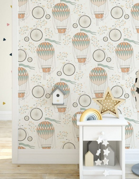 Sure to be adored by little ones, the Retro Balloons Children's Wallpaper is a fun addition to any nursery or playroom. Go on an adventure with our kid's wallpaper for children's rooms! A well-chosen pattern can visually enlarge the interior.