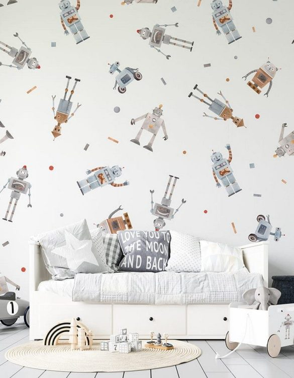 Sure to be adored by little ones, the Robots Children's Wallpaper is a fun addition to any nursery or playroom. Go on an adventure with our kid's wallpaper for children's rooms! A well-chosen pattern can visually enlarge the interior.