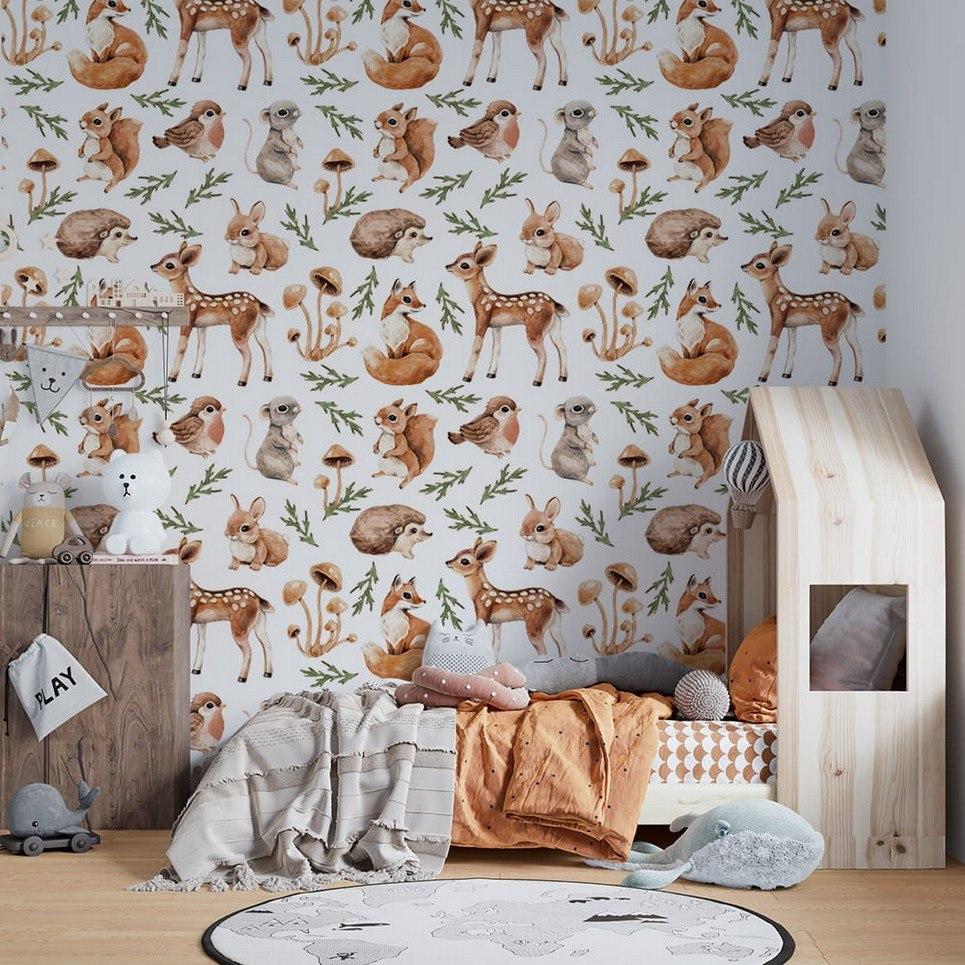 Small Forest Meetings Children's Wallpaper
