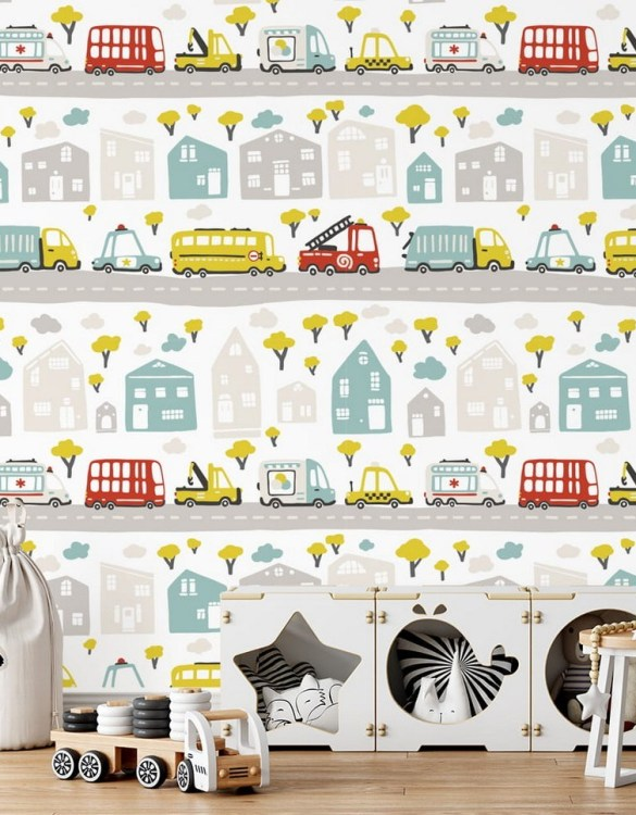 Sure to be adored by little ones, the Streets of the City 2 Children's Wallpaper is a fun addition to any nursery or playroom. Go on an adventure with our kid's wallpaper for children's rooms! A well-chosen pattern can visually enlarge the interior.