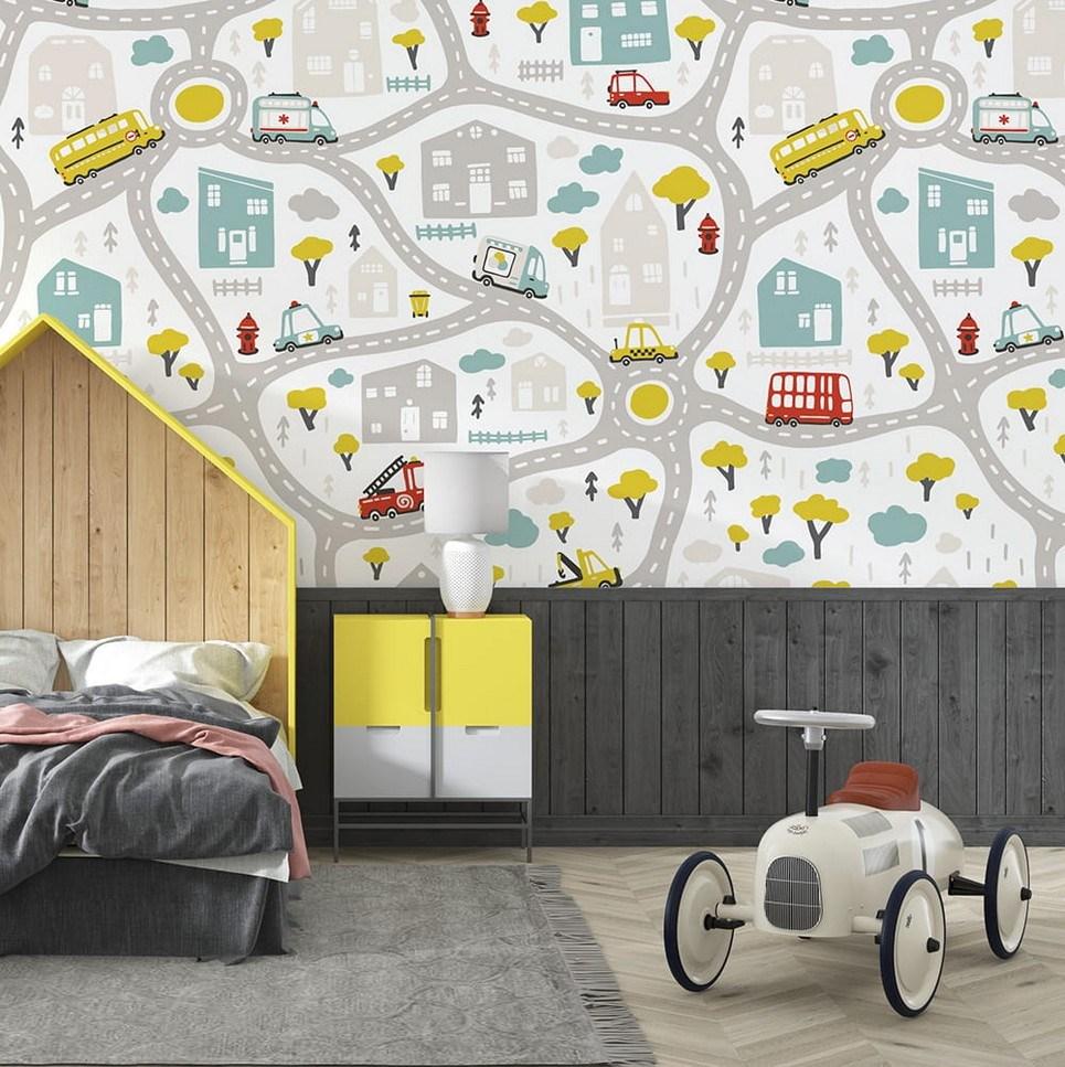 Streets of the City Children's Wallpaper