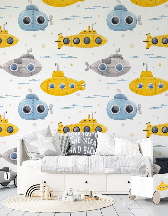 Sure to be adored by little ones, the Submarines Children's Wallpaper is a fun addition to any nursery or playroom. Go on an adventure with our kid's wallpaper for children's rooms! A well-chosen pattern can visually enlarge the interior.