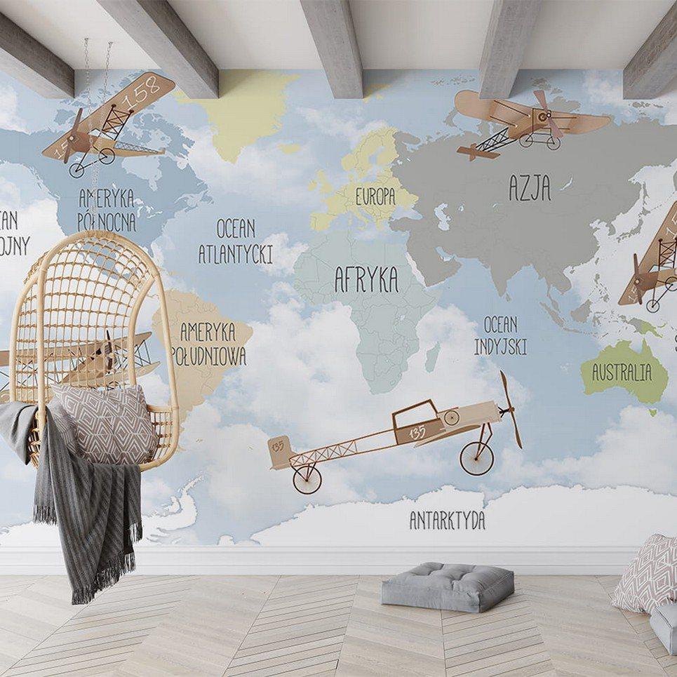 World Map of Retro Airplanes Children's Wallpaper