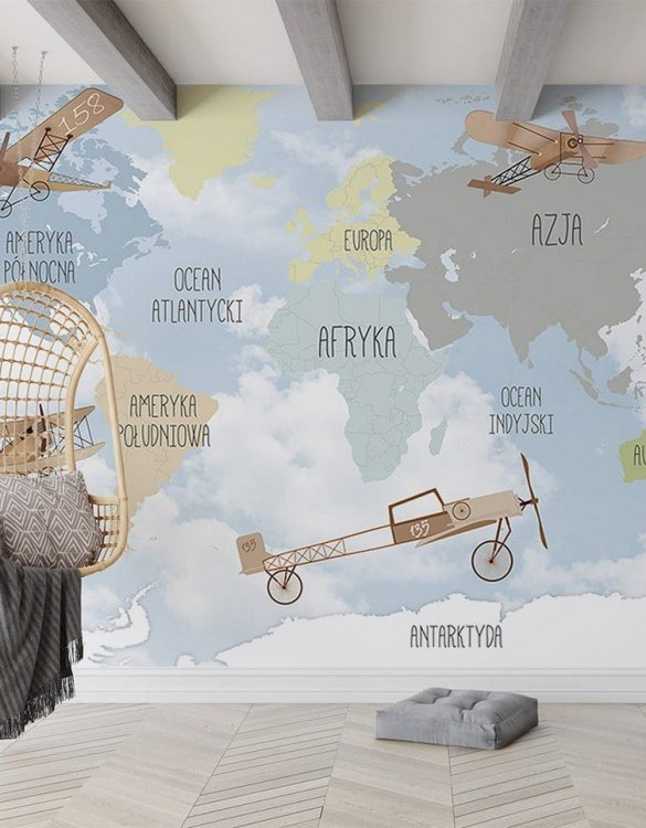 Sure to be adored by little ones, the World Map of Retro Airplanes Children's Wallpaper is a fun addition to any nursery or playroom. Go on an adventure with our kid's wallpaper for children's rooms! A well-chosen pattern can visually enlarge the interior.