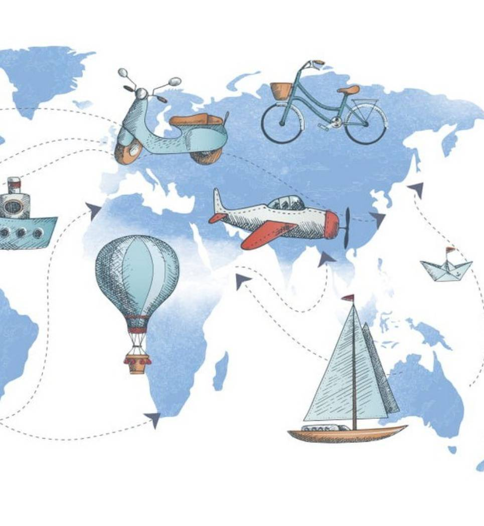 World Transport Map Children's Wallpaper – 1