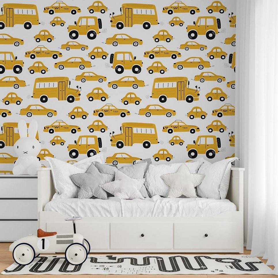 Yellow Cars Children's Wallpaper