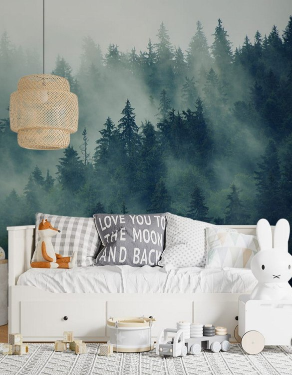Sure to be adored by little ones, the Forest In The Mist Children's Wallpaper is a fun addition to any nursery or playroom. Go on an adventure with our kid's wallpaper for children's rooms! A well-chosen pattern can visually enlarge the interior.