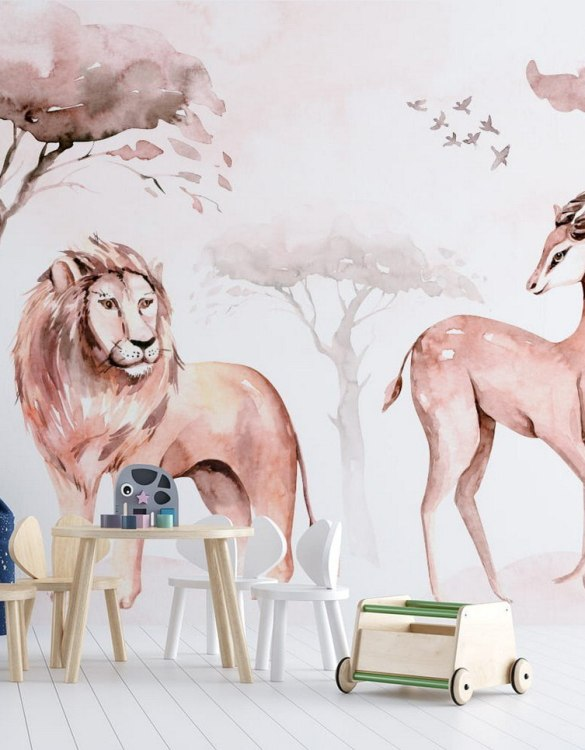 Sure to be adored by little ones, the Jungle and Friends 14 Children's Wallpaper is a fun addition to any nursery or playroom. Go on an adventure with our kid's wallpaper for children's rooms! A well-chosen pattern can visually enlarge the interior.