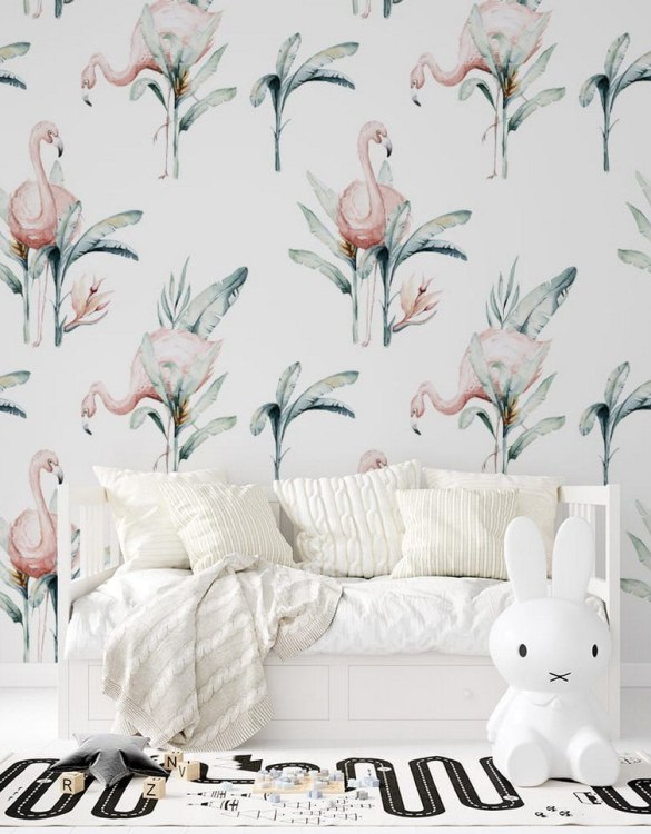 Sure to be adored by little ones, the Jungle and Friends 3 Children's Wallpaper is a fun addition to any nursery or playroom. Go on an adventure with our kid's wallpaper for children's rooms! A well-chosen pattern can visually enlarge the interior.