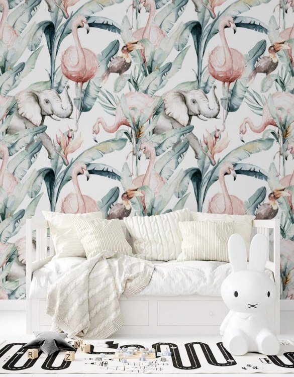 Sure to be adored by little ones, the Jungle and Friends 4 Children's Wallpaper is a fun addition to any nursery or playroom. Go on an adventure with our kid's wallpaper for children's rooms! A well-chosen pattern can visually enlarge the interior.