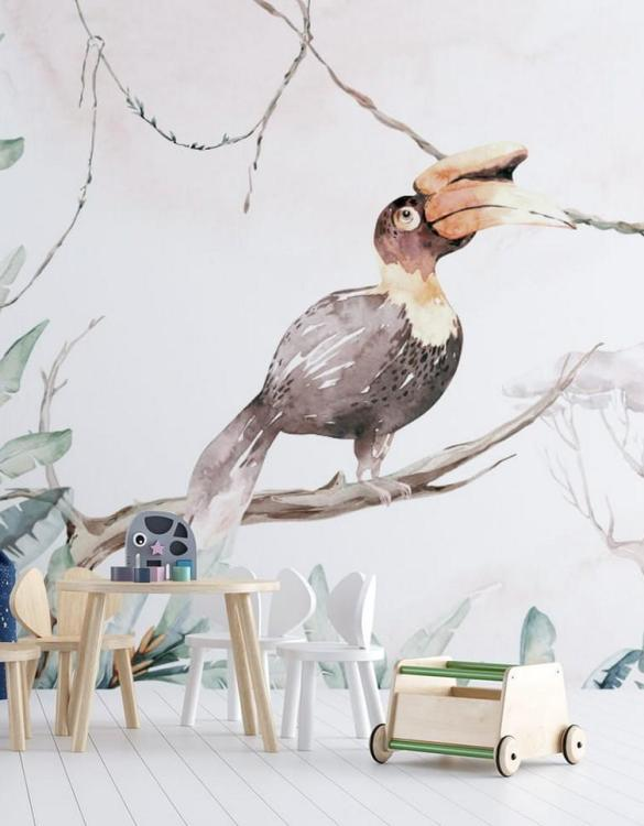 Sure to be adored by little ones, the Jungle and Friends 9 Children's Wallpaper is a fun addition to any nursery or playroom. Go on an adventure with our kid's wallpaper for children's rooms! A well-chosen pattern can visually enlarge the interior.