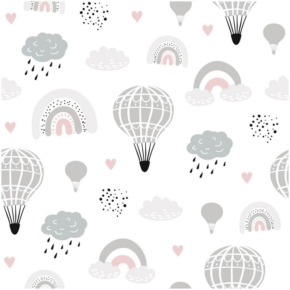 Rainbow and Balloons Children's Wallpaper