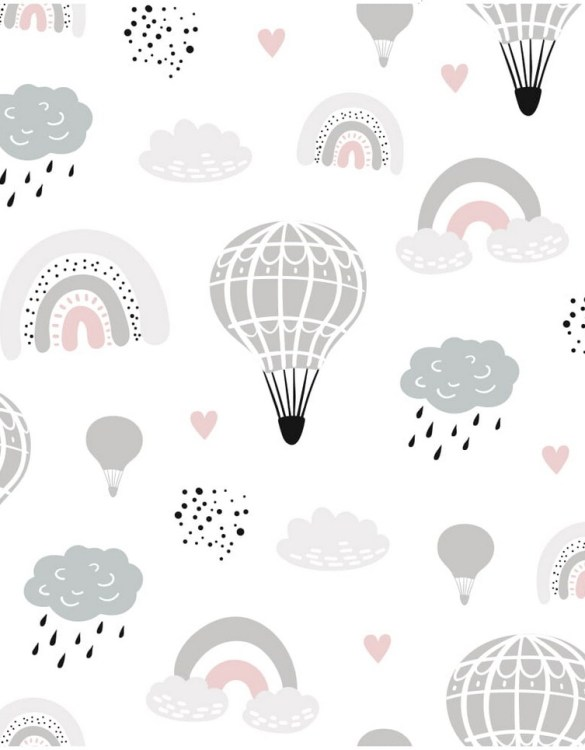 Sure to be adored by little ones, the Rainbow and Balloons Children's Wallpaper is a fun addition to any nursery or playroom. Go on an adventure with our kid's wallpaper for children's rooms! A well-chosen pattern can visually enlarge the interior.