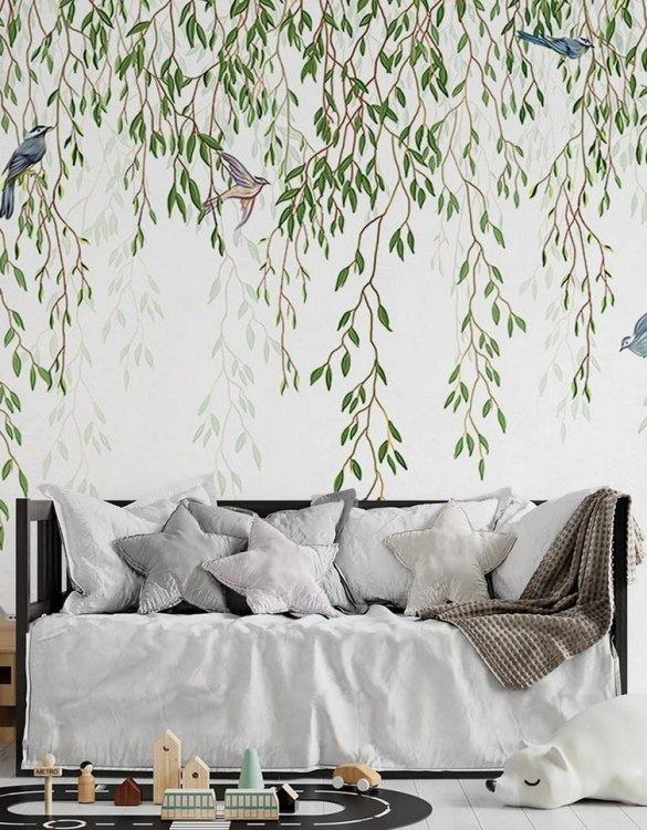 Sure to be adored by little ones, the Spring Branches Children's Wallpaper is a fun addition to any nursery or playroom. Go on an adventure with our kid's wallpaper for children's rooms! A well-chosen pattern can visually enlarge the interior.