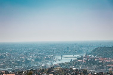 a view over Budapest from the Arpad lookout tower - there's the Gellert hill on the right, the river in the middle and the Pest side on the left.
