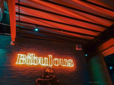"""Red neon sign """"Bibulous"""" on a brick wall."""