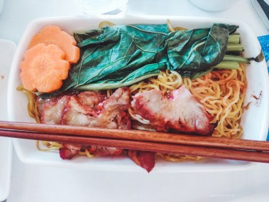 Cathay Pacific CX134 business breakfast noodles
