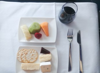 Cathay Pacific CX134 business lunch cheese fruit dessert