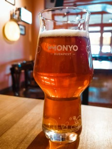 A glass of double IPA at MONYO brewery.