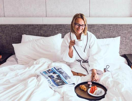 Breakfast in bed at the Sofitel Singapore City Centre hotel.