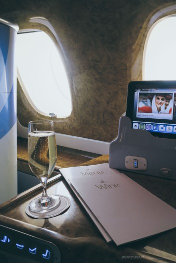 The good start - flying business class with Emirates champagne