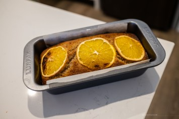 orange cardamom cake straight out of the oven