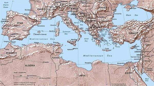 peta laut mediterania